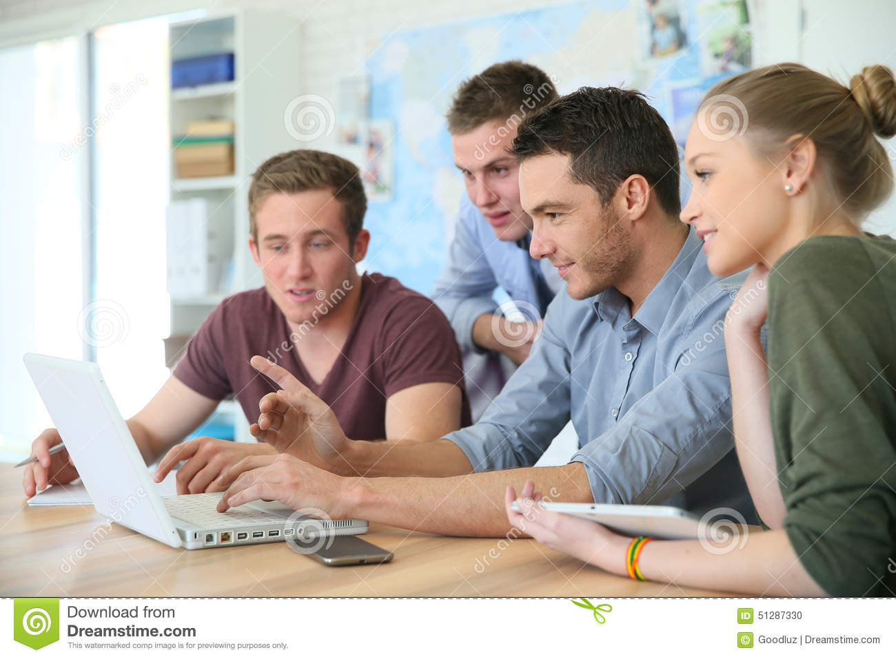 Group of students during business training
