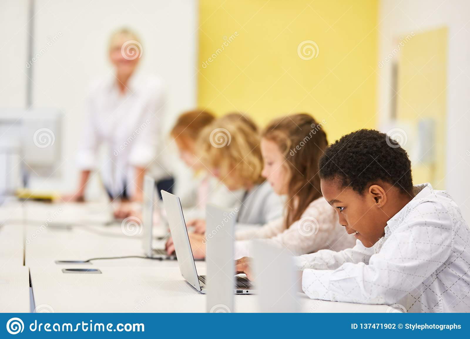 Group Of Students In Computer Course Stock Photo - Image of computer