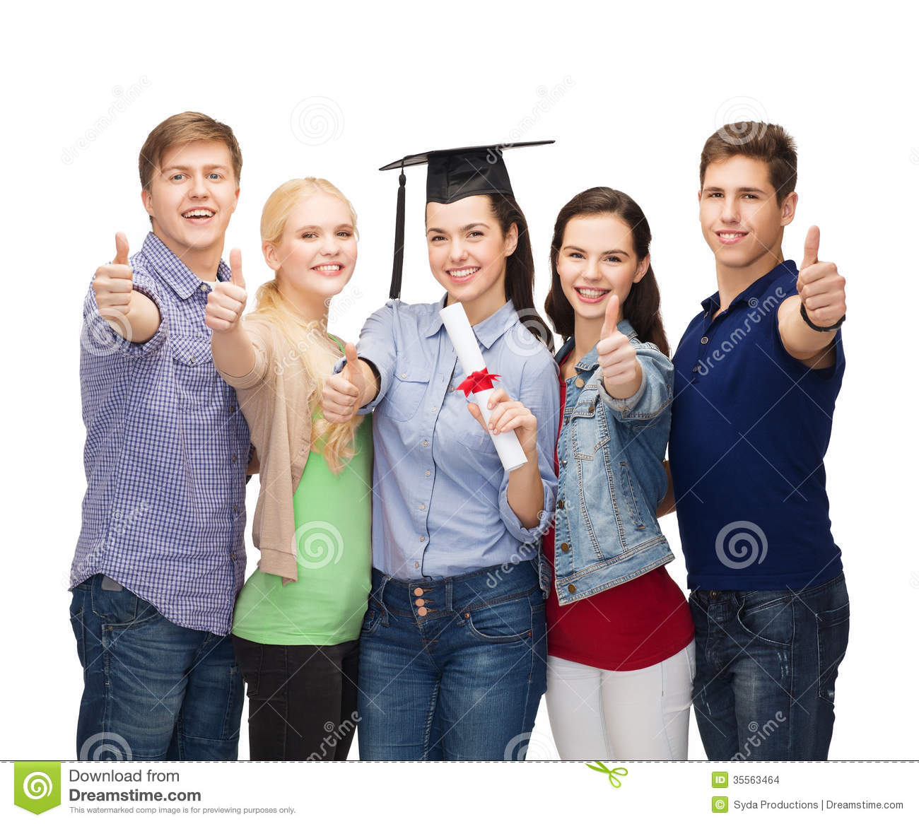 group of students diploma showing thumbs up stock photo  group of students diploma showing thumbs up