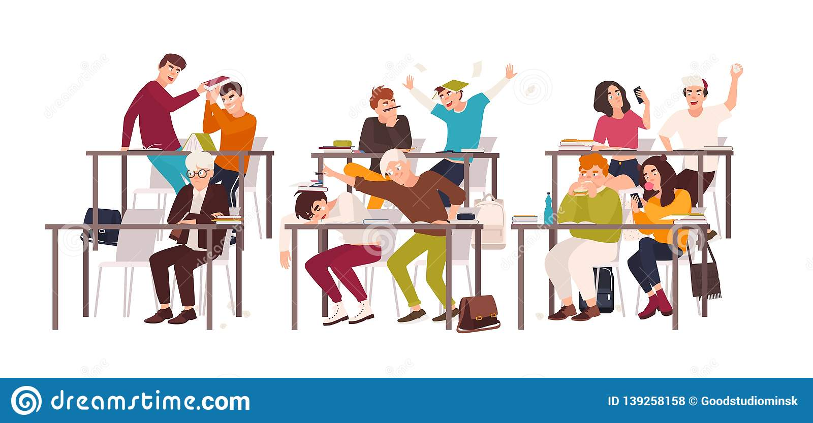 Group of students or pupils sitting at desks in classroom and demonstrating bad behavior - fighting, eating, sleeping