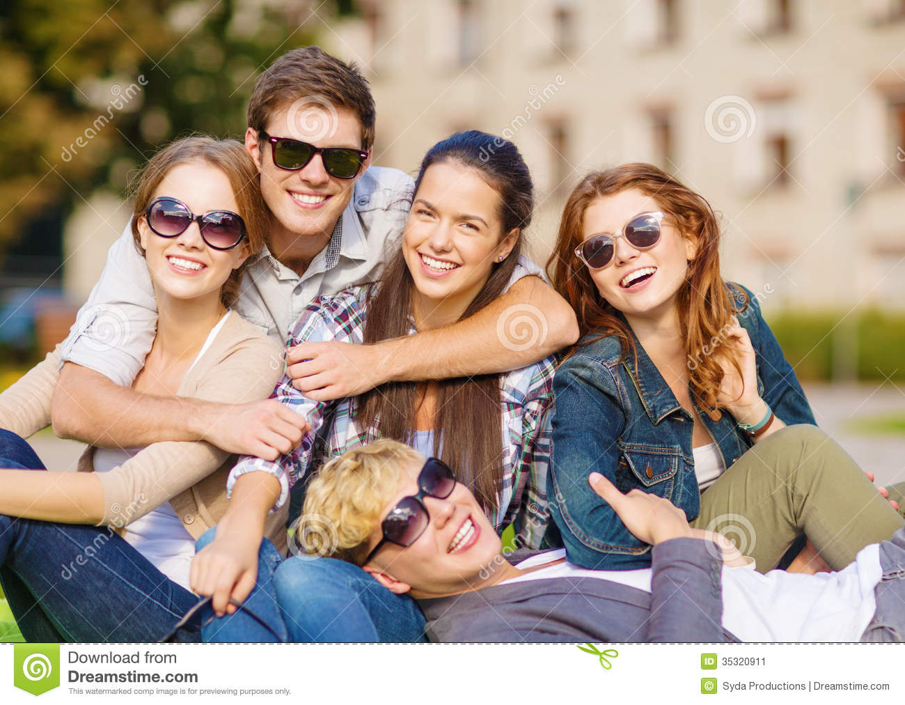 Group of students or teenagers hanging out stock image for Hanging groups of pictures