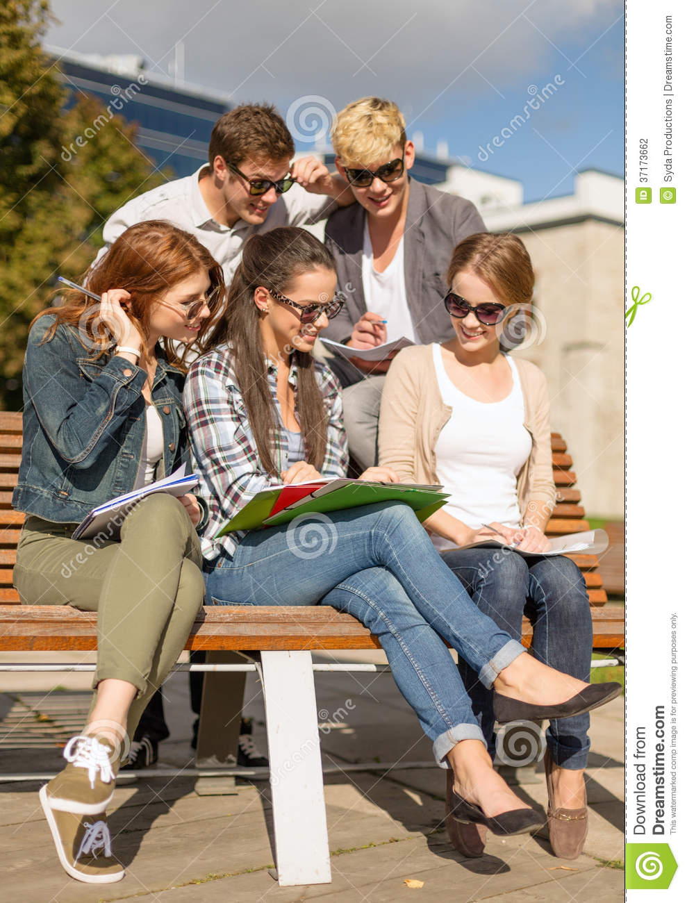 Group of students or teenagers hanging out stock for Hanging groups of pictures