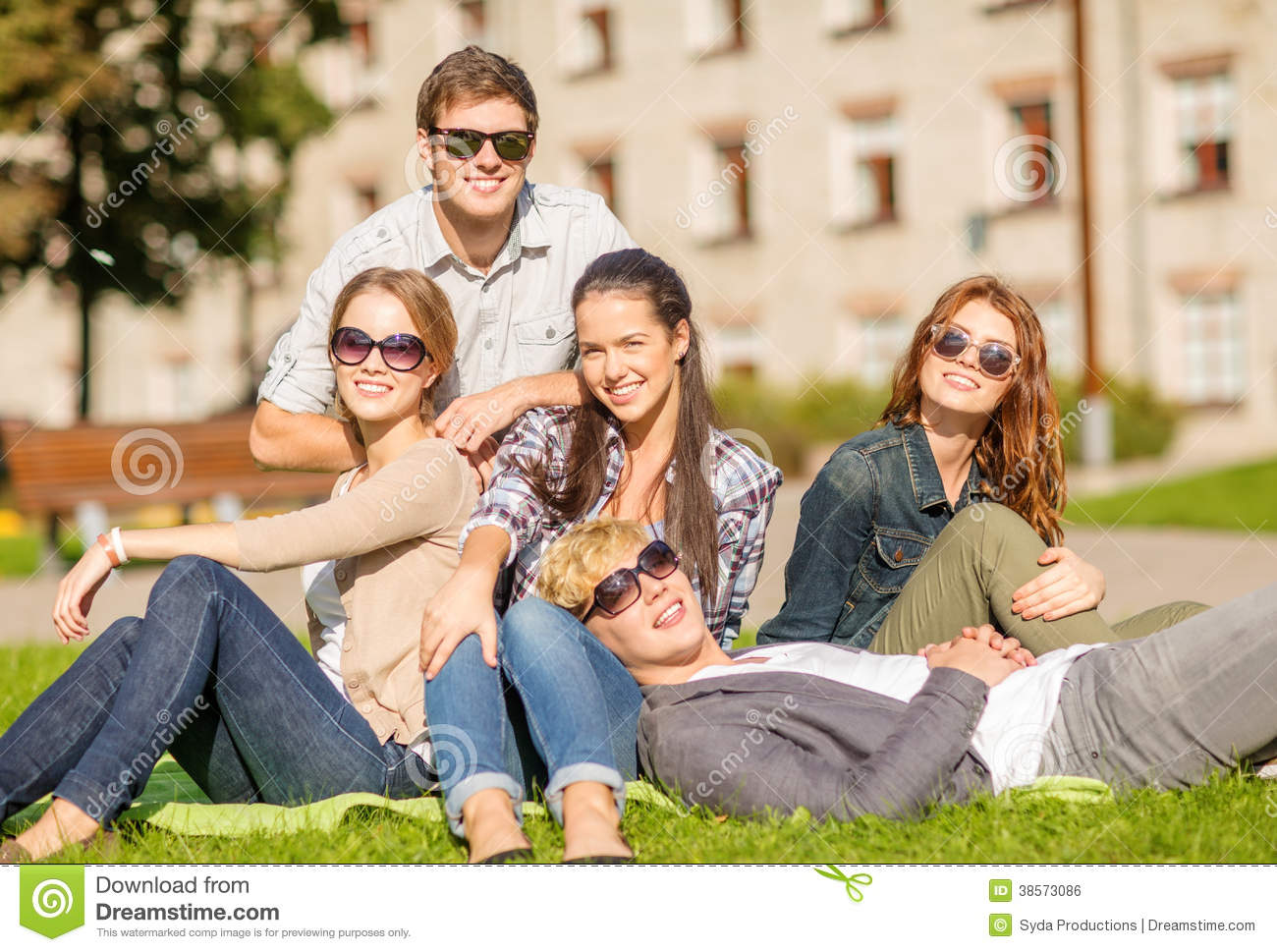 Group of students or teenagers hanging out royalty free for Hanging groups of pictures