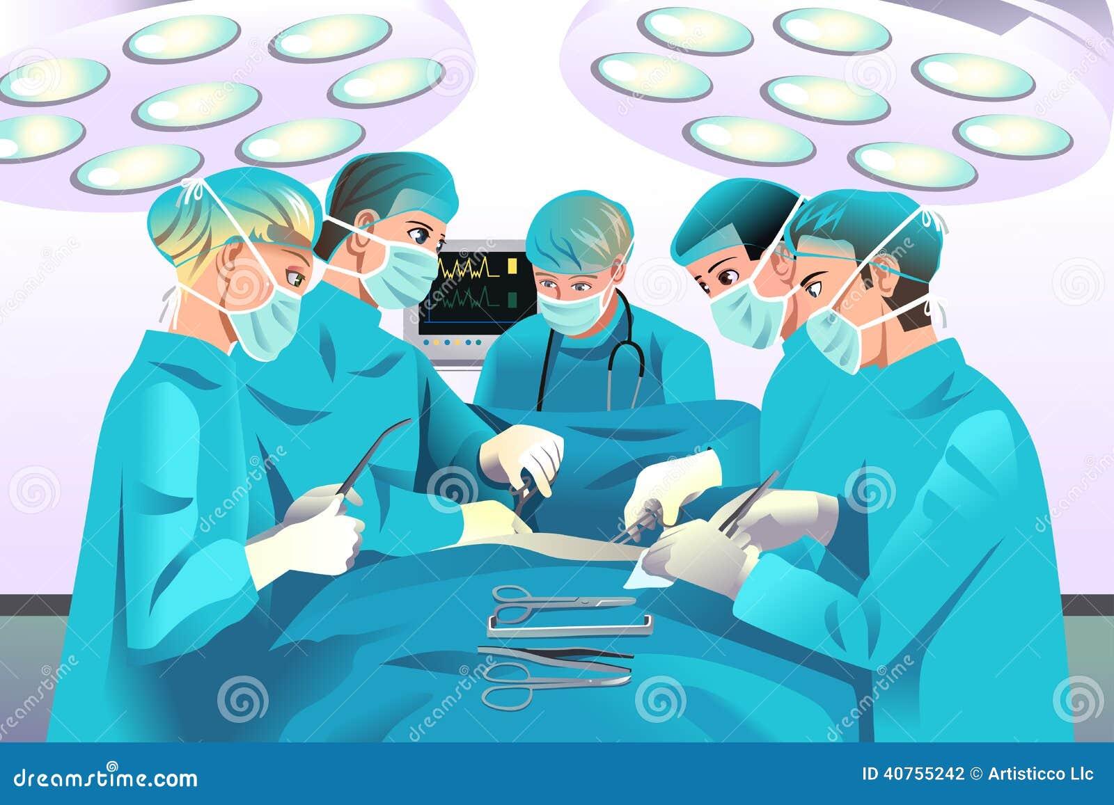 Group surgeons doing surgery
