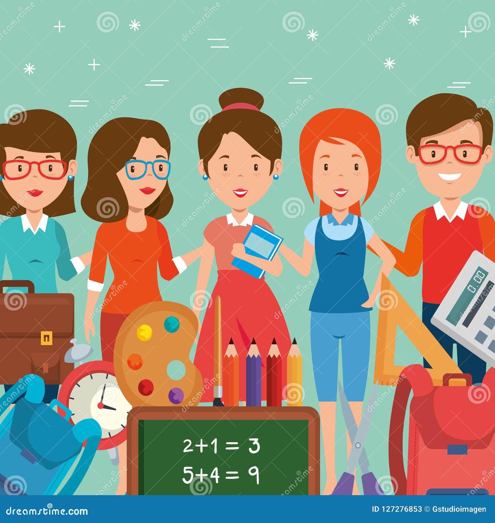 Group Of Teachers With School Supplies Stock Vector