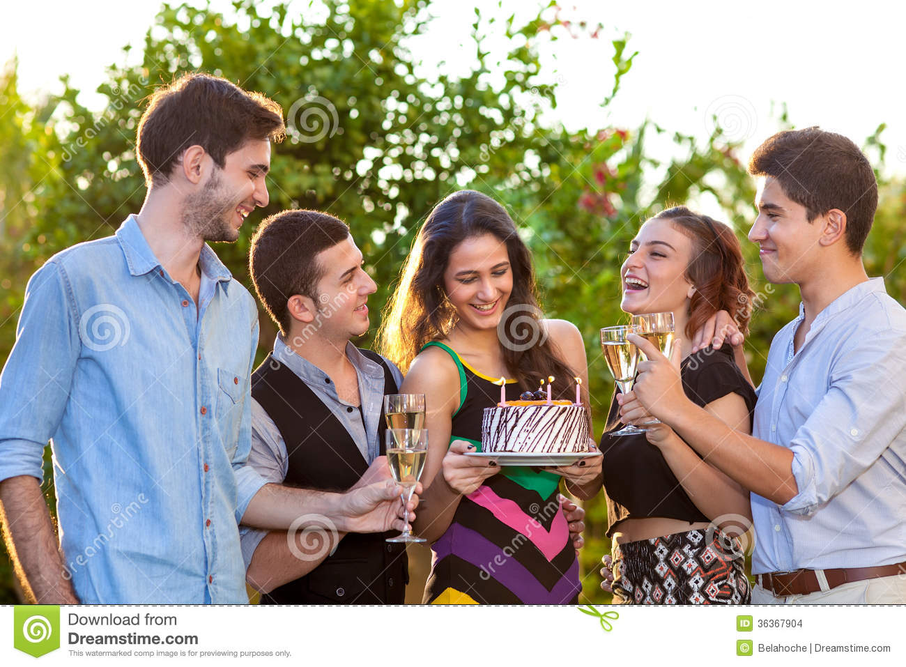 Group Of Teenage Friends Toasting A Birthday Girl Stock