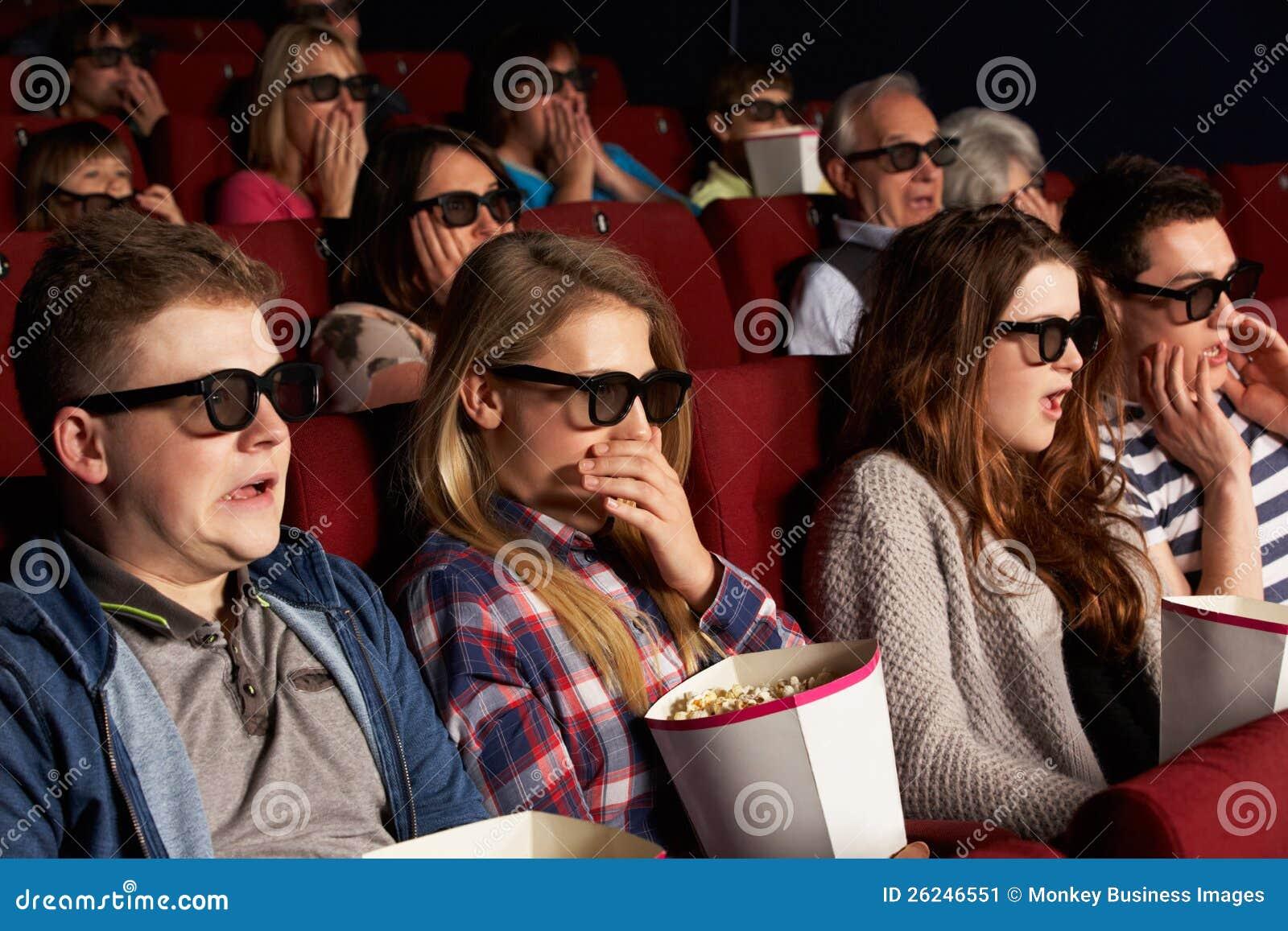Group Of Teenage Friends Watching 3D Film