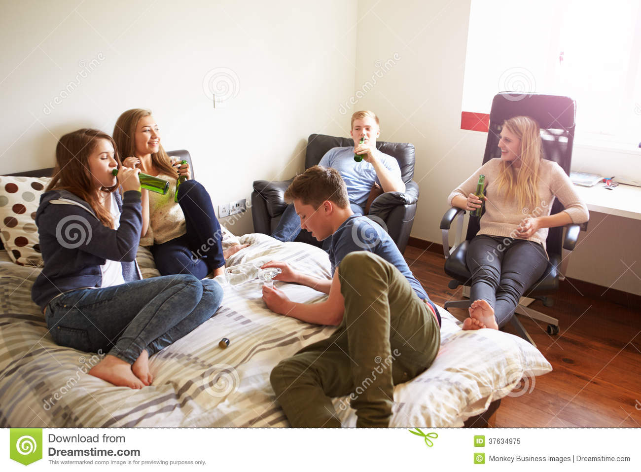 Female Teenagers Drinking Stock - In Of Horizontal Bedroom Image 37634975 Group Alcohol