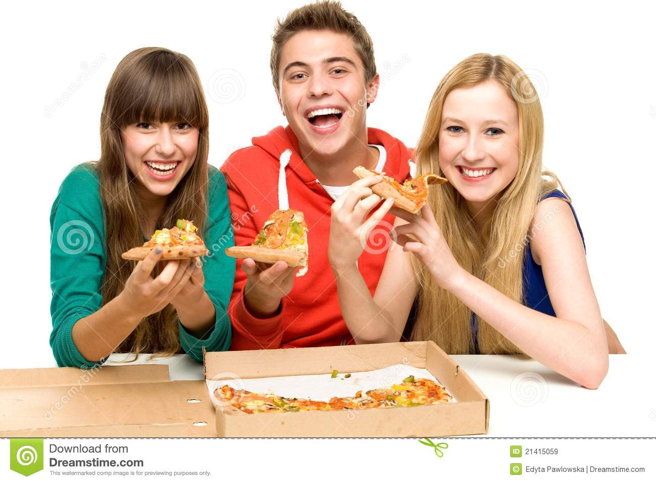 Group Of Teenagers Eating Pizza Stock Image