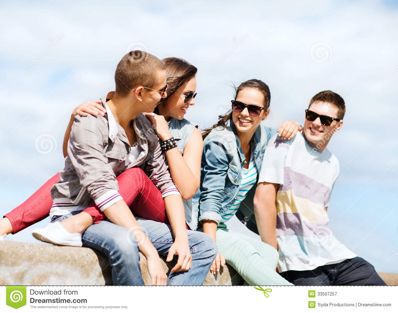 Group of teenagers hanging out royalty free stock for Hanging groups of pictures
