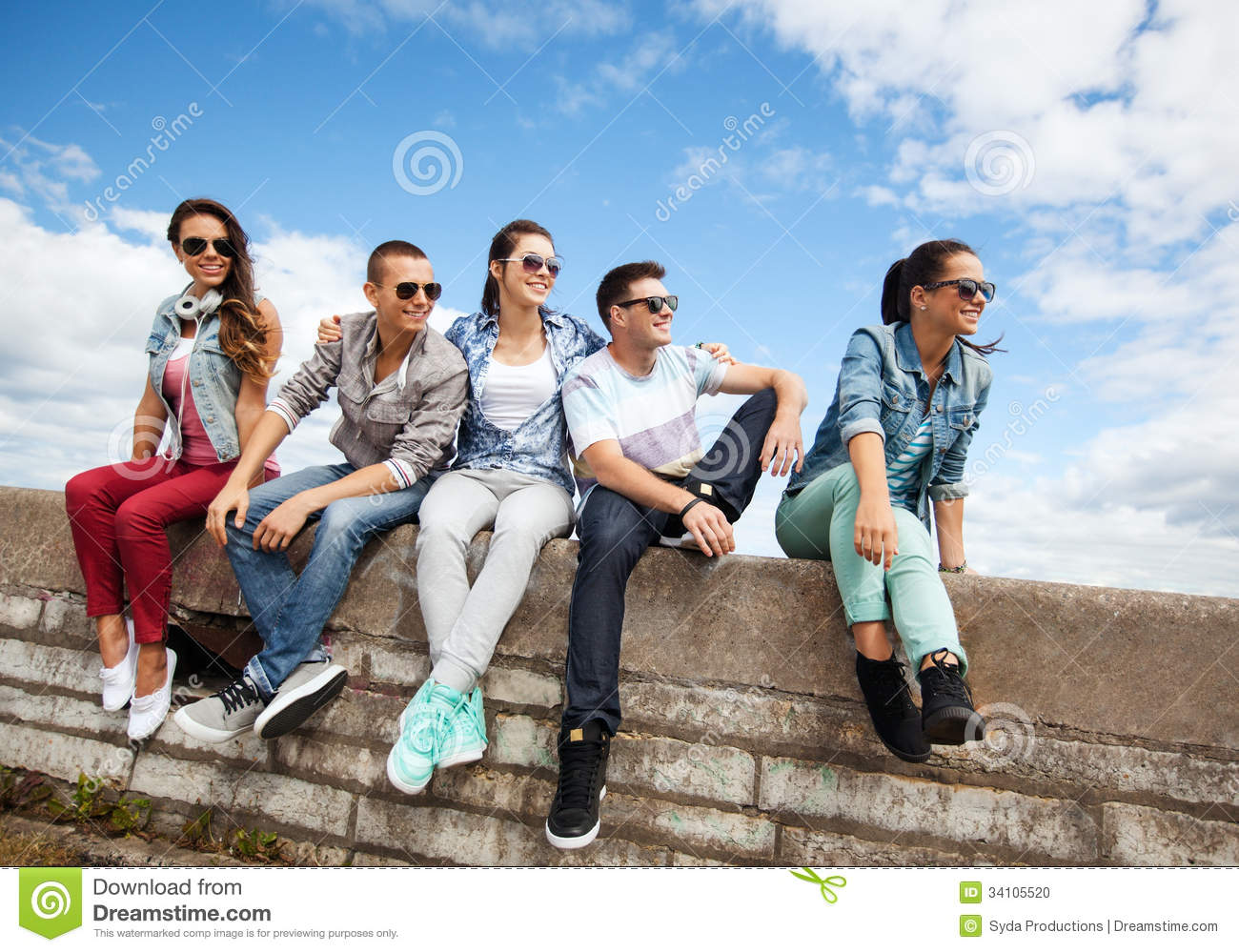 Group of teenagers hanging out stock photo image 34105520 for Hanging groups of pictures