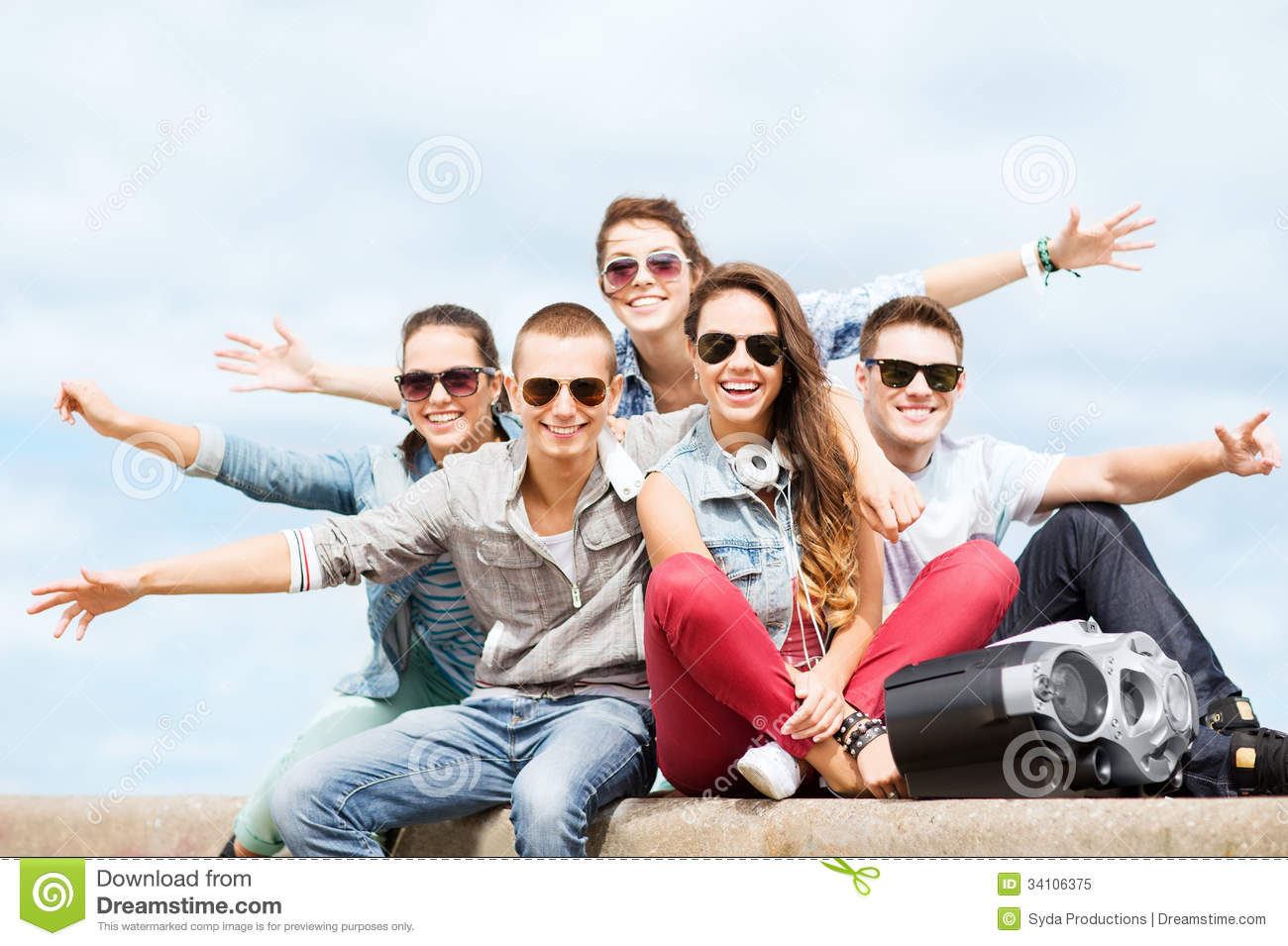 Group of teenagers hanging out royalty free stock photo for Hanging groups of pictures