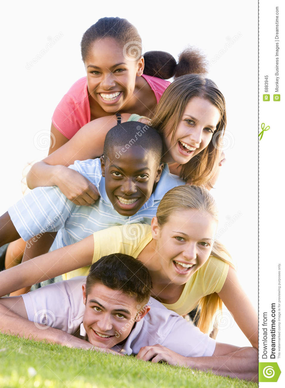Group Of Teenagers Having Fun Outdoors Stock Image
