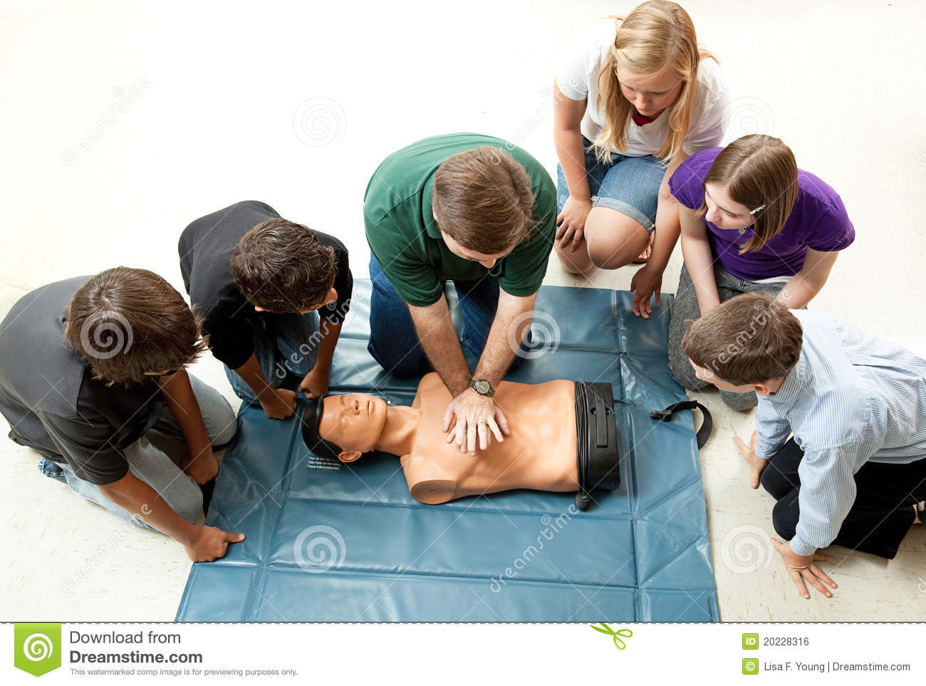 Group Of Teens Take Cpr Class Stock Photo Image Of Massage