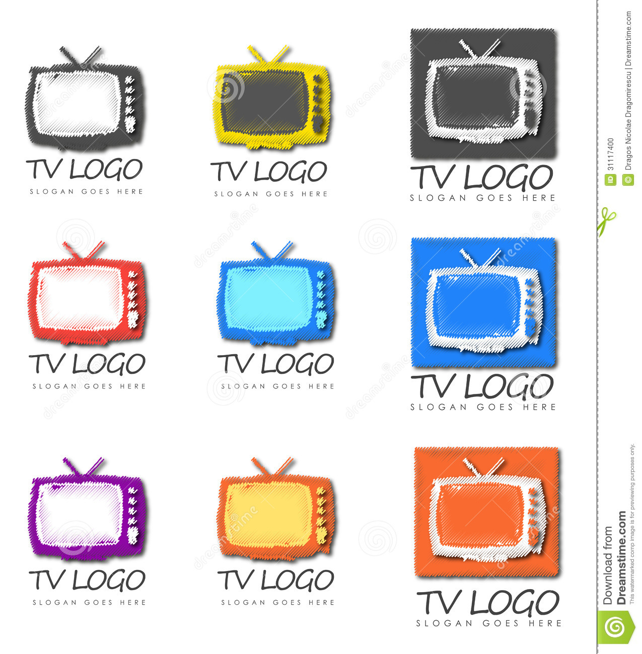 Group Of Television Logo Designs Stock Vector Image