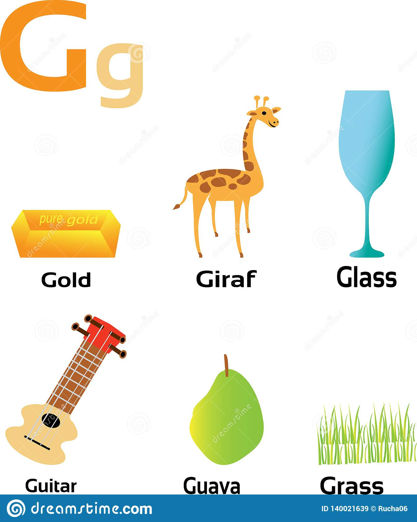 Group Of Things Starting From Letter G Stock Vector   Illustration