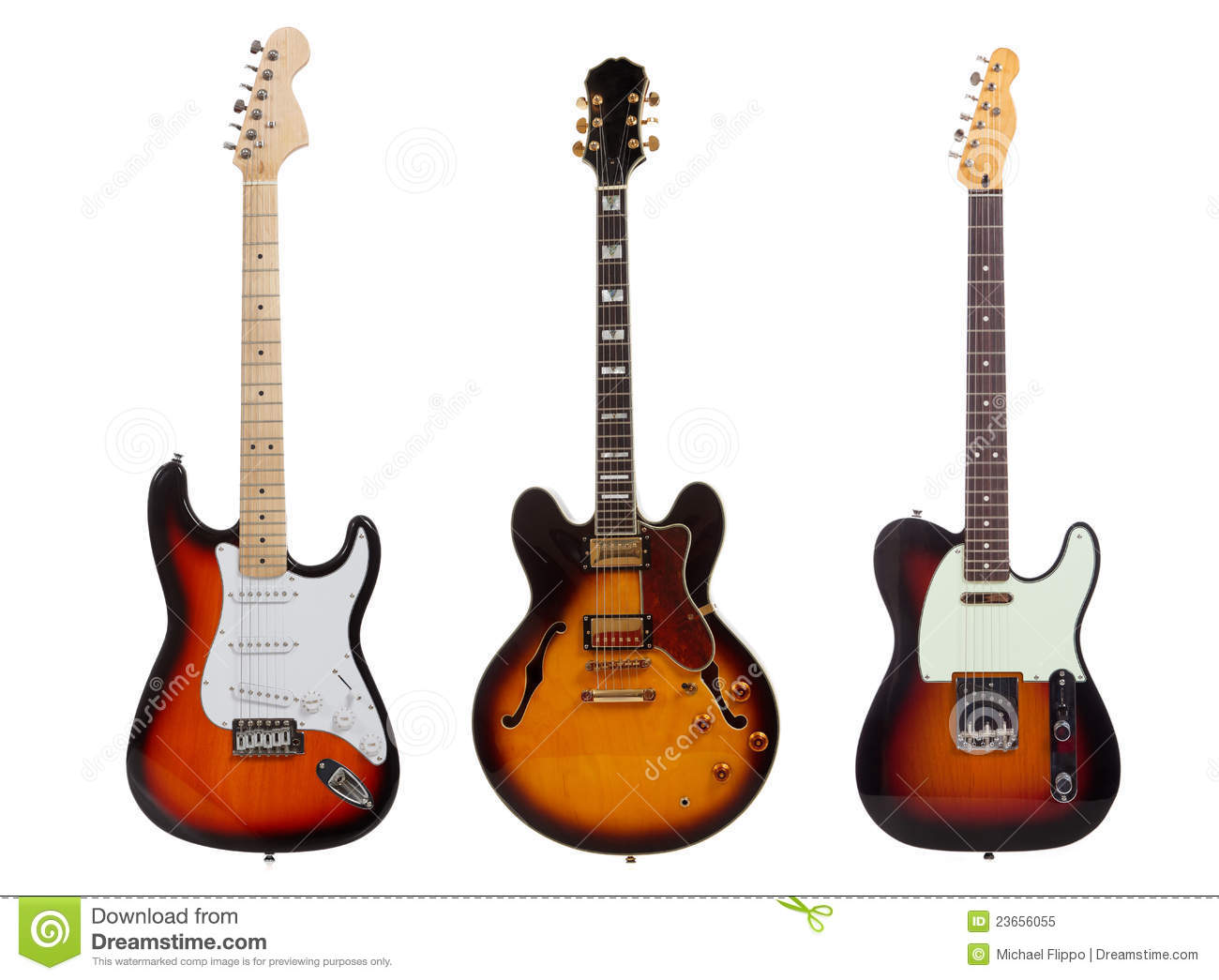 Group Of Three Electric Guitars On White Royalty Free