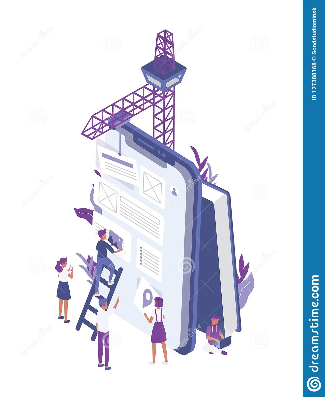 Group of tiny people creating or building mobile app design on giant tablet PC. Office workers working in interface and