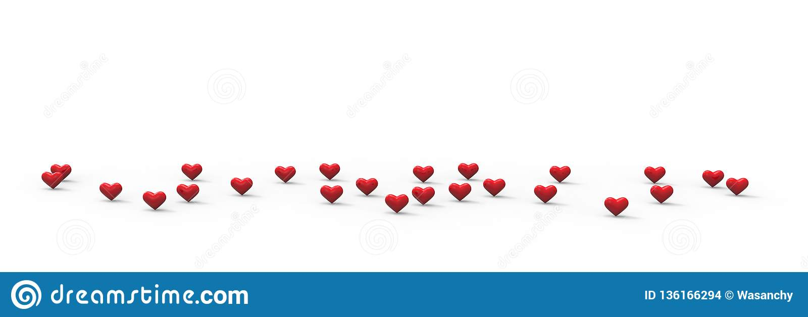 Group of Valentine Hearts on white background. 3D rendering