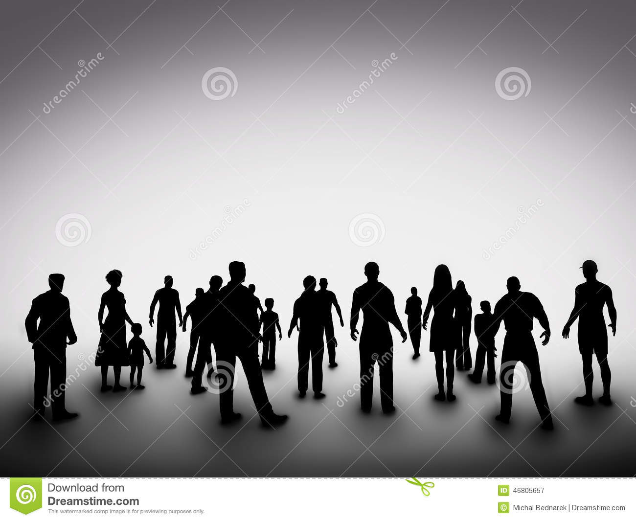 Group Of Various People Silhouettes Society Stock Photo