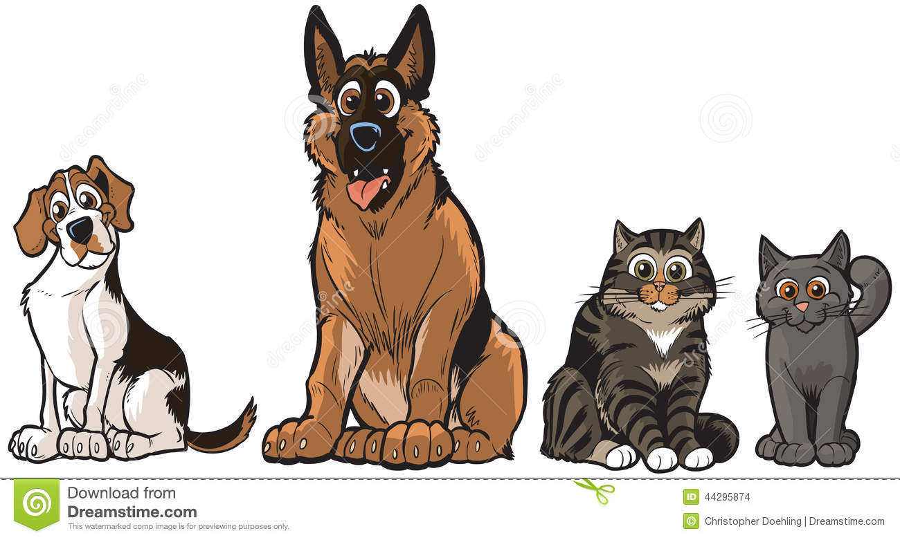 ... German Shepherd, Tabby, and a Grey cat. Each pet is on a separate