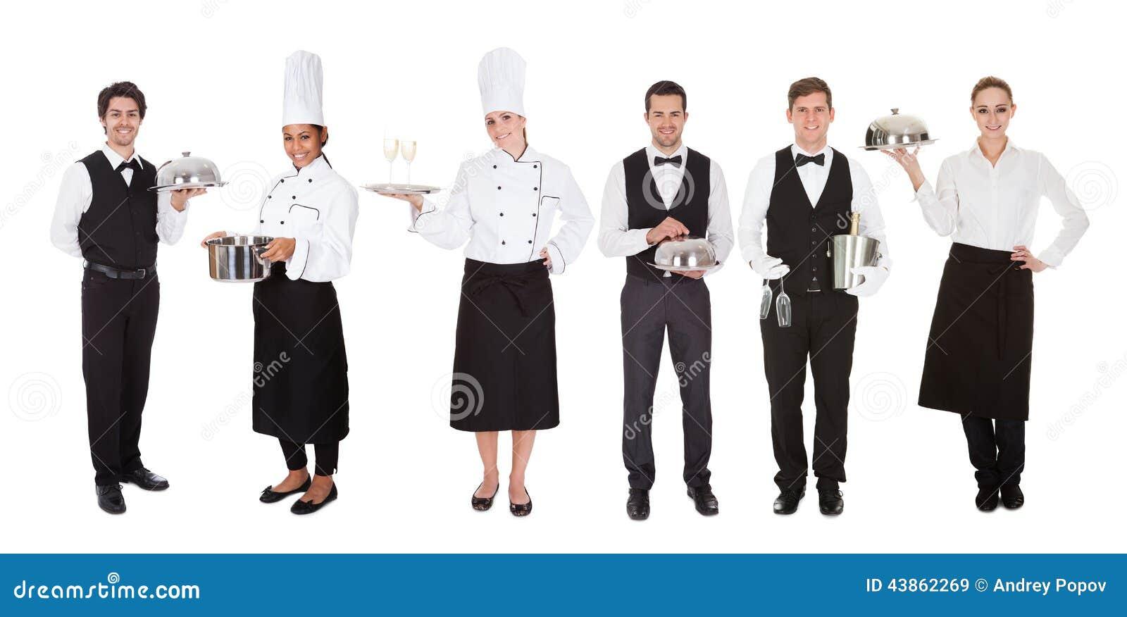 group of waiter and waitress stock image