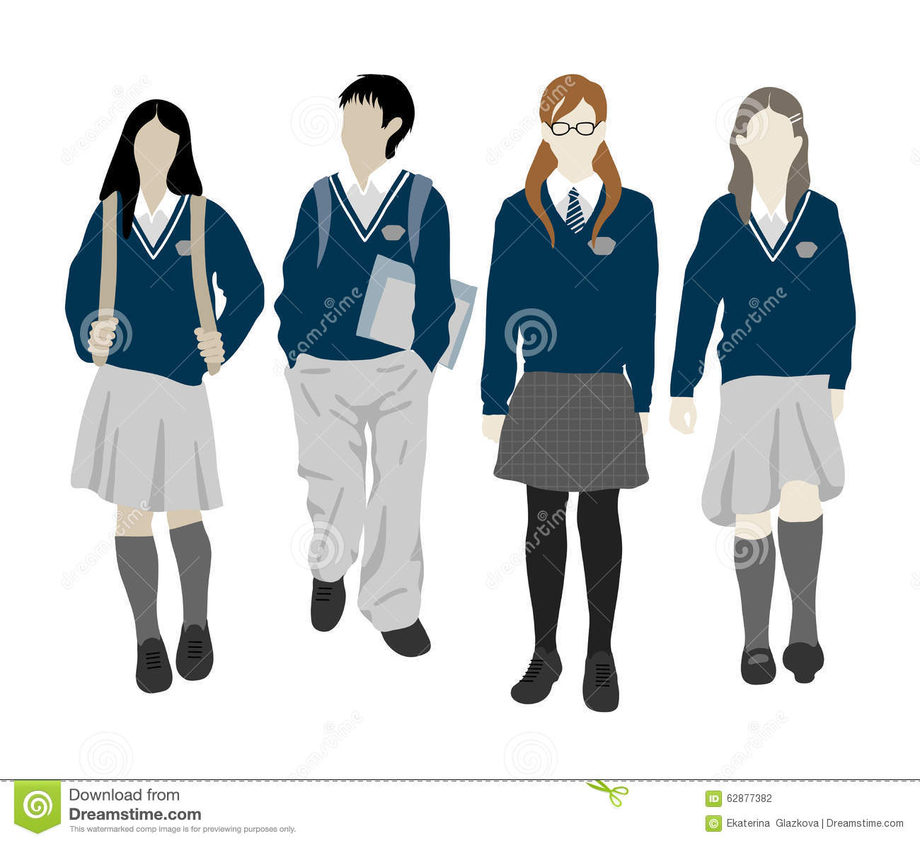 Group Of Walking Vector Students Stock Vector - Image ... Happy High School Student Clipart