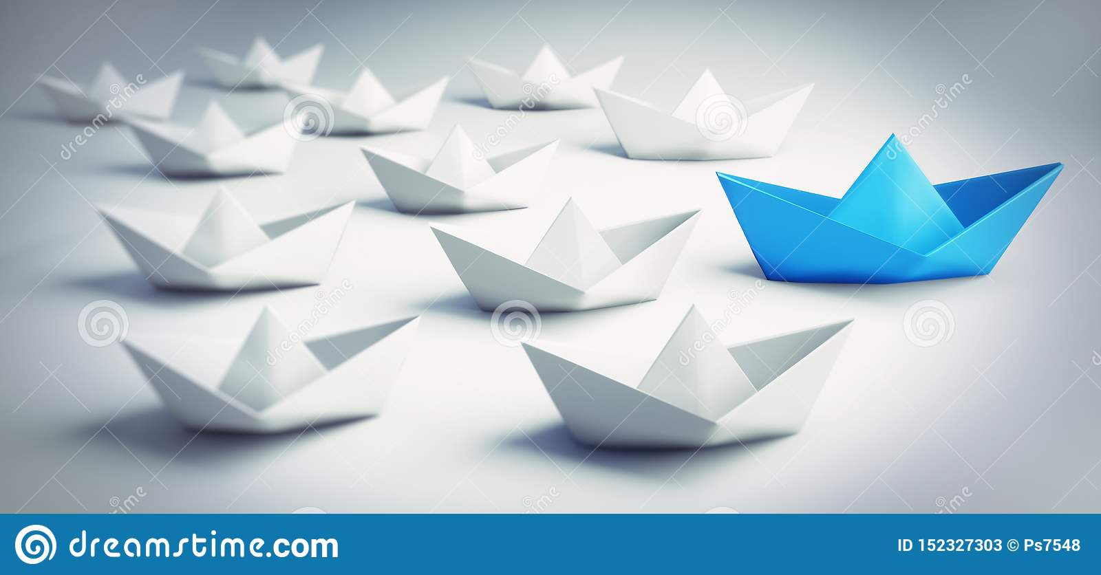 Group of white and blue paper boats - 3D illustration