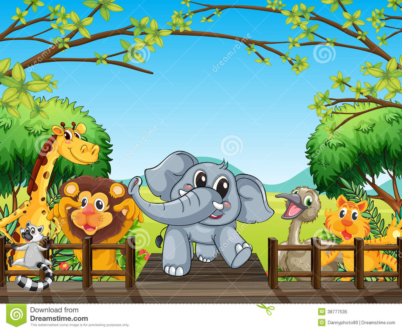 group of wild animals at the bridge in the forest stock giraffe vector picture giraffe vector art for vinyl cutting