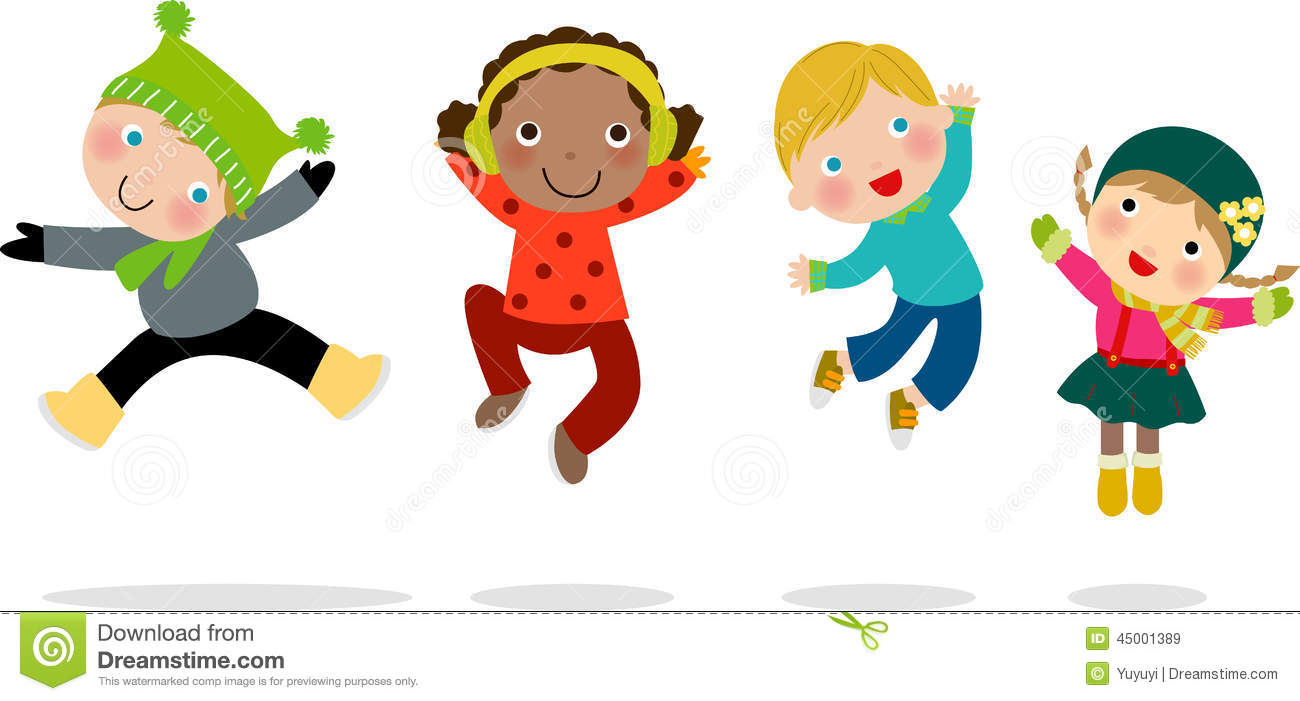 Group Of Winter Kids Jumping Stock Vector