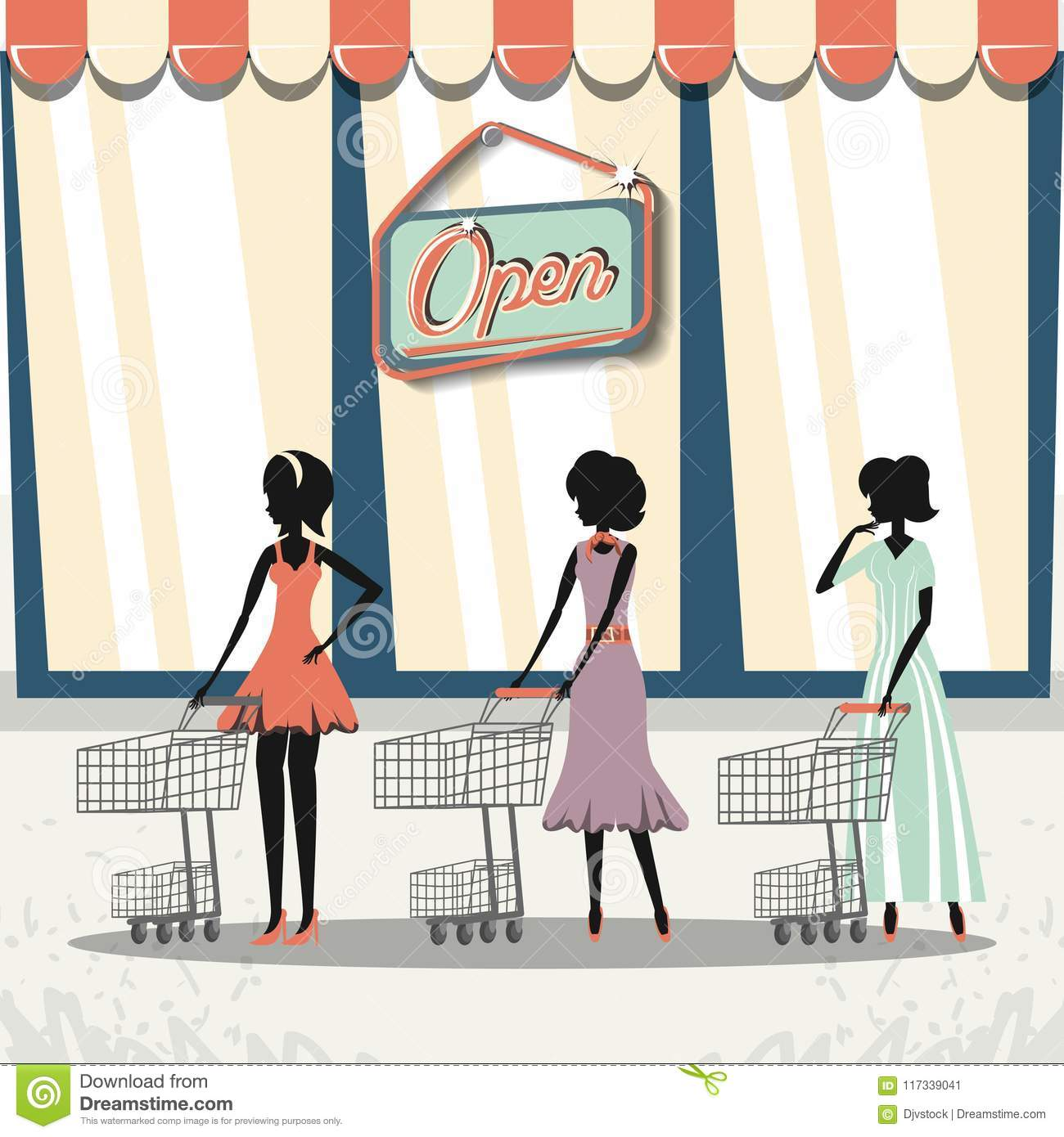 a897b31055 Group of women in shopping day style retro vector illustration design. More  similar stock illustrations