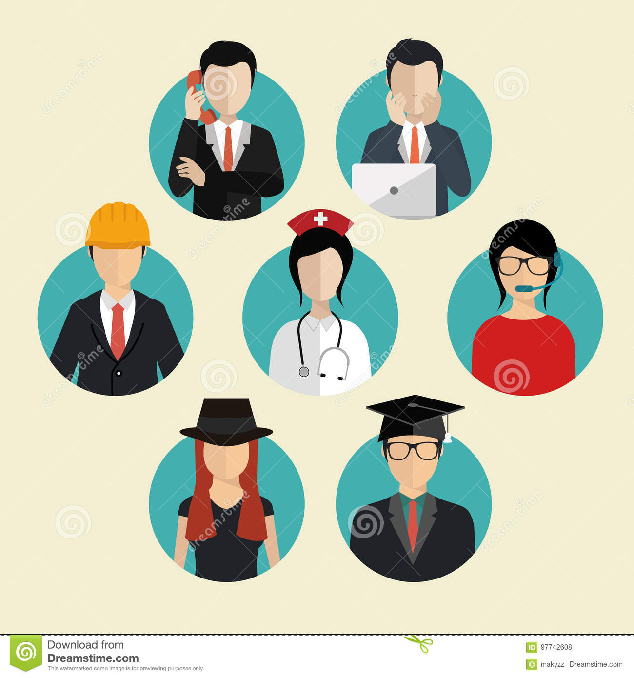 Crowd Of Indian Women Vector Avatars Stock Vector: Group Of Working People Diversity, Diverse Business Men