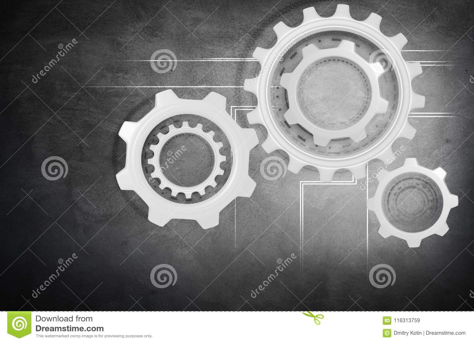 Group of working silver cogwheels.