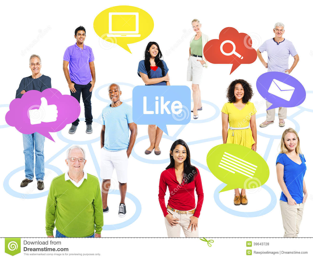 Group Of World People With Social Media Icons Stock Photo ...