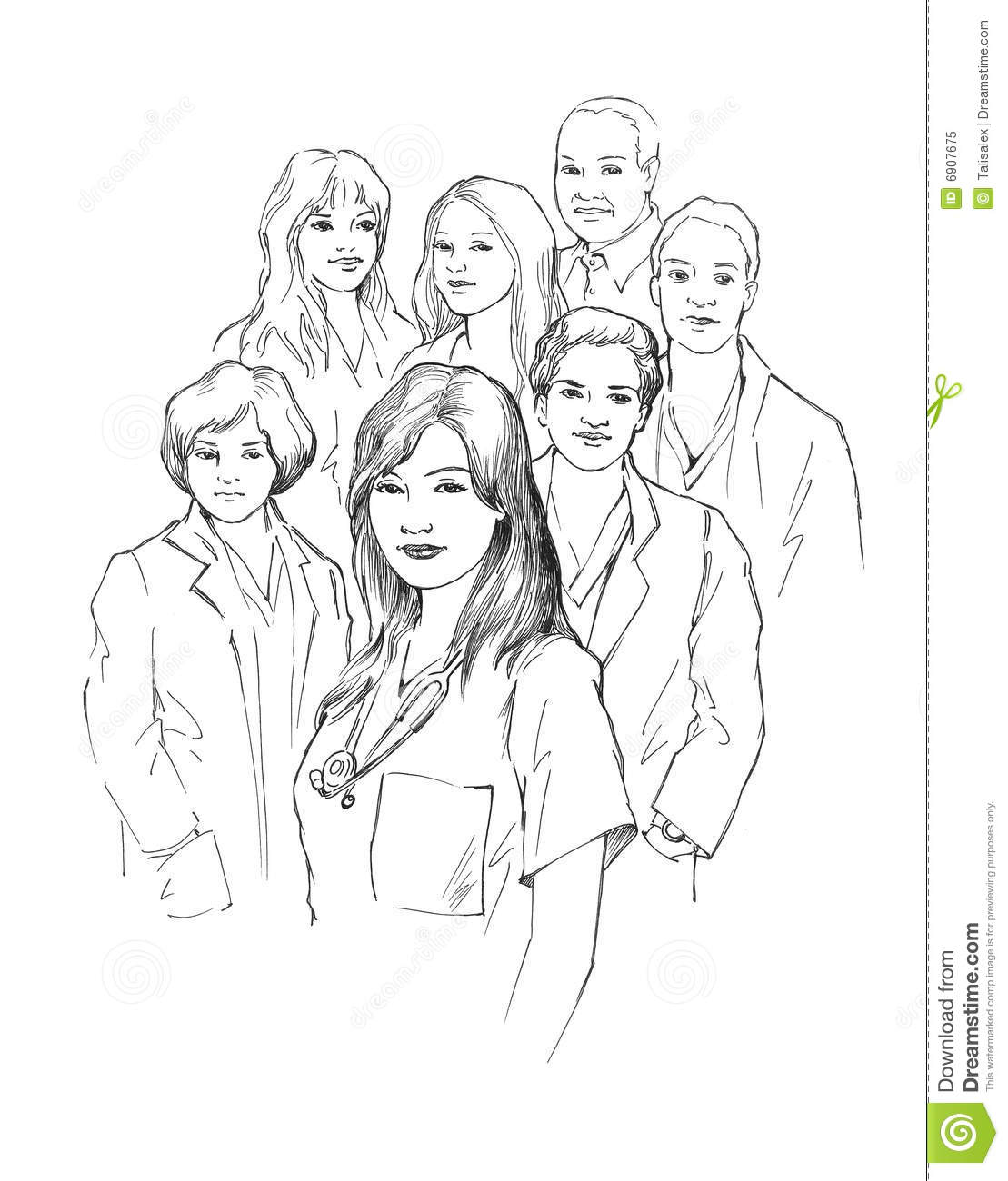 Line Art Group : Group of young doctors stock illustration image