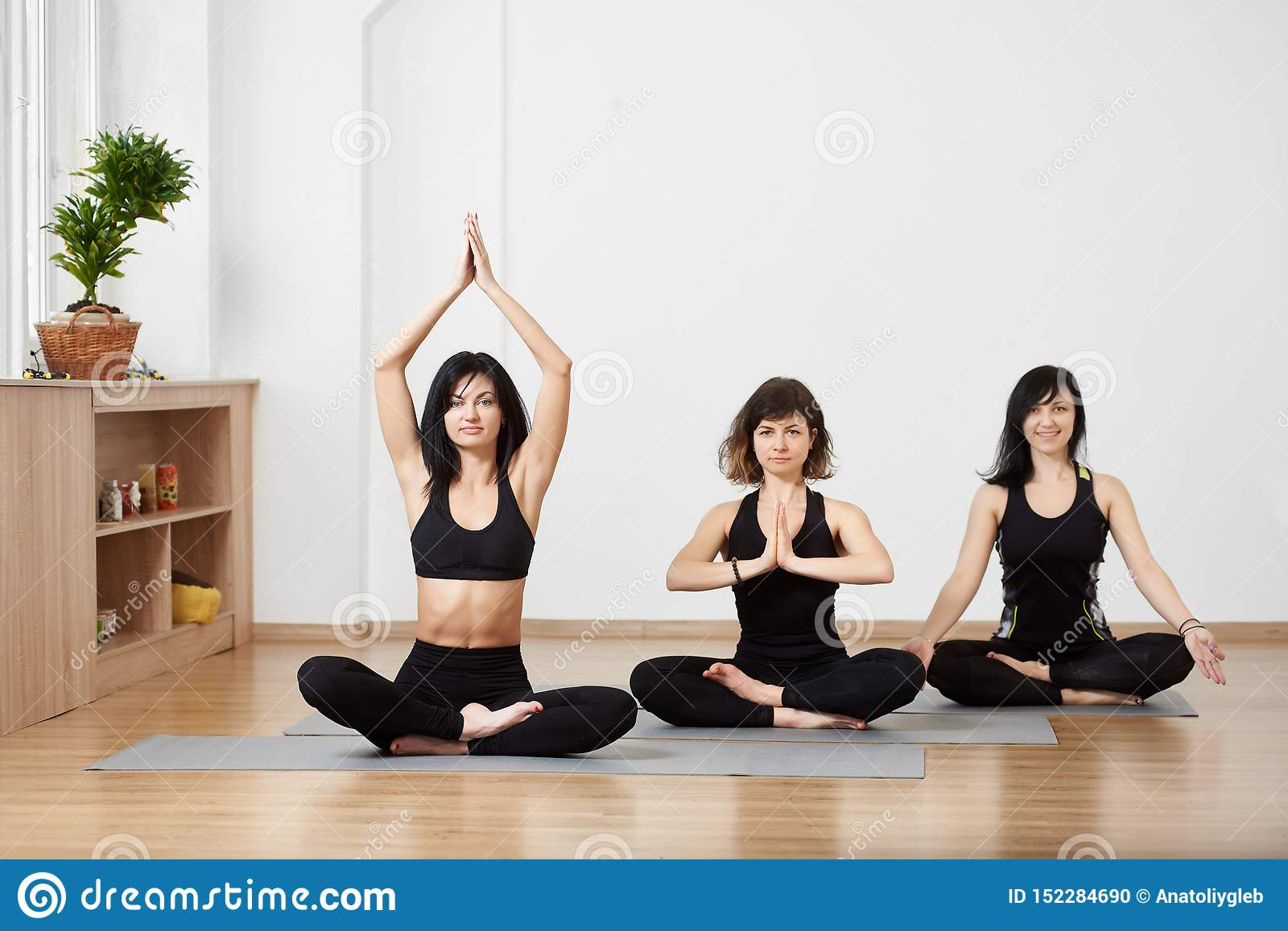 Group of young female friends sitting diagonally on floor on exercise mat, meditating together in traditional yoga pose