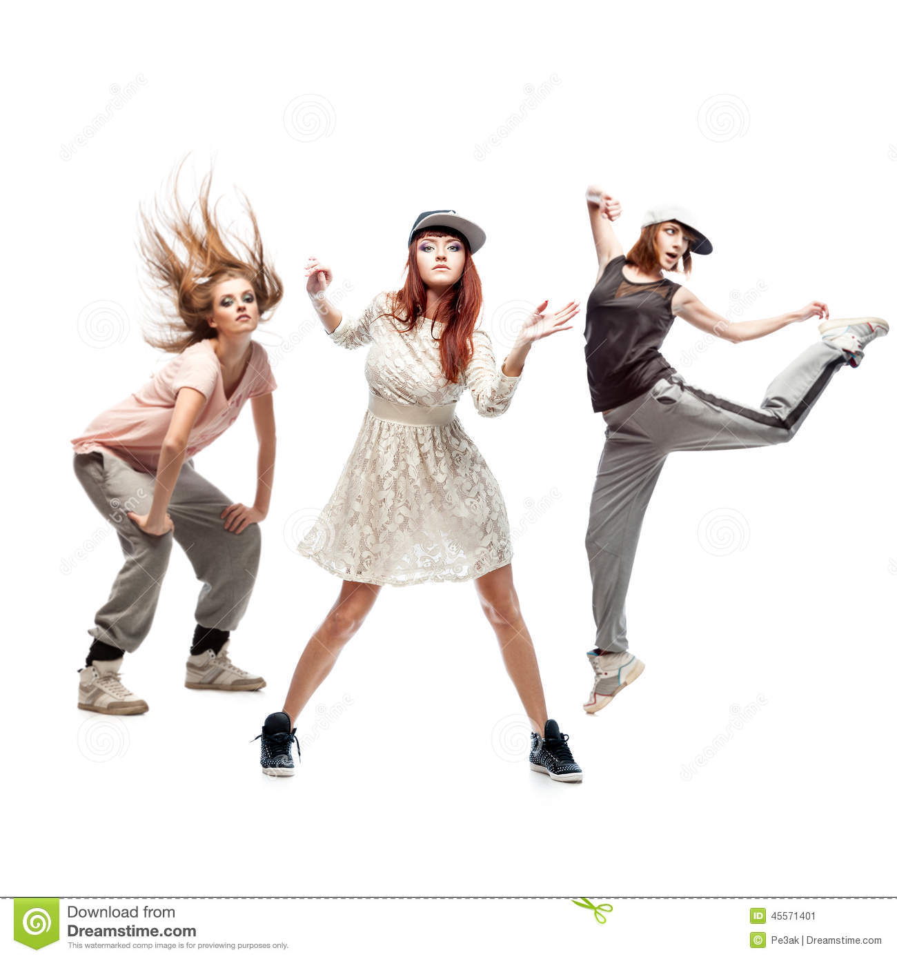 Group Of Young Femanle Hip Hop Dancers On White Background ...