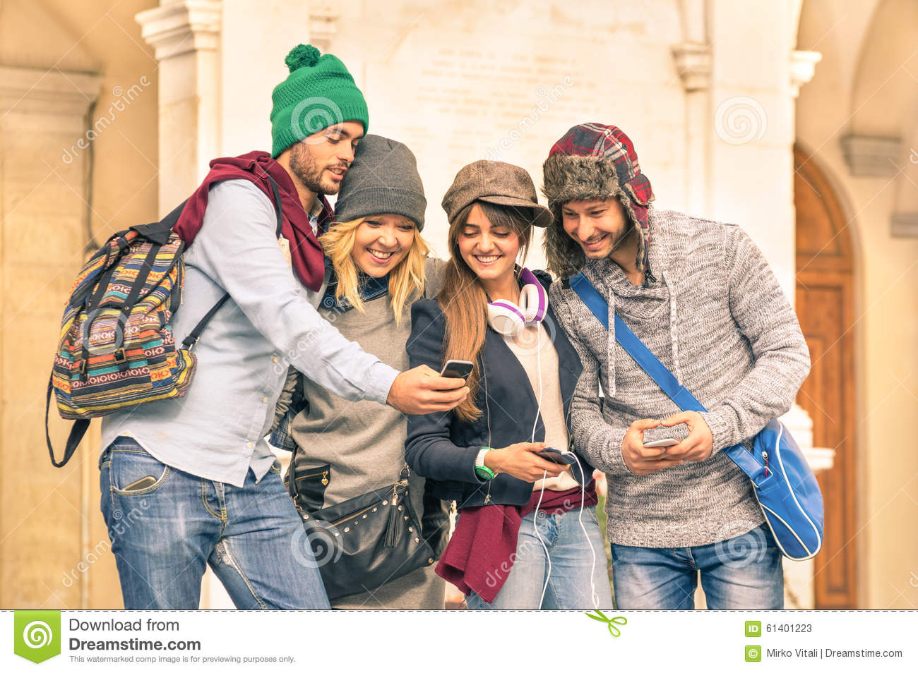 Group Of Young Hipster Tourist Friend Having Fun With Smartphone Stock ...