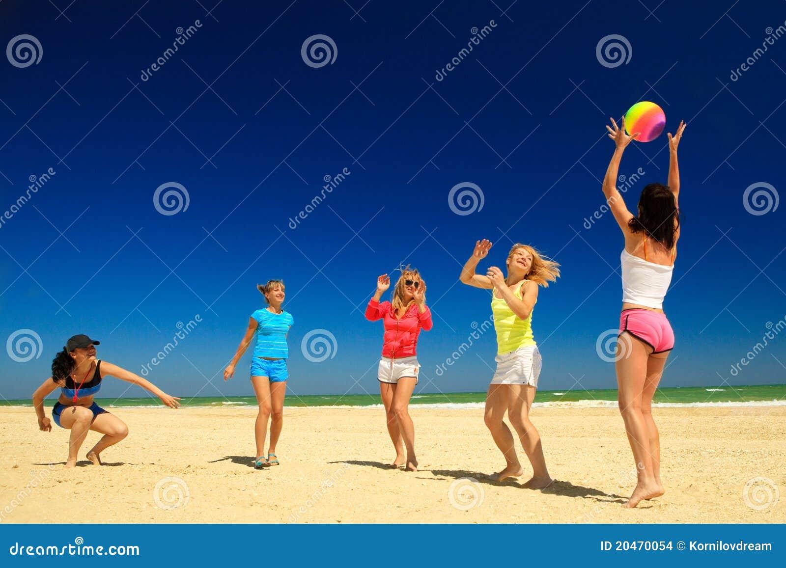 Joyful Girls Playing Volleyball Stock Photo - Image of