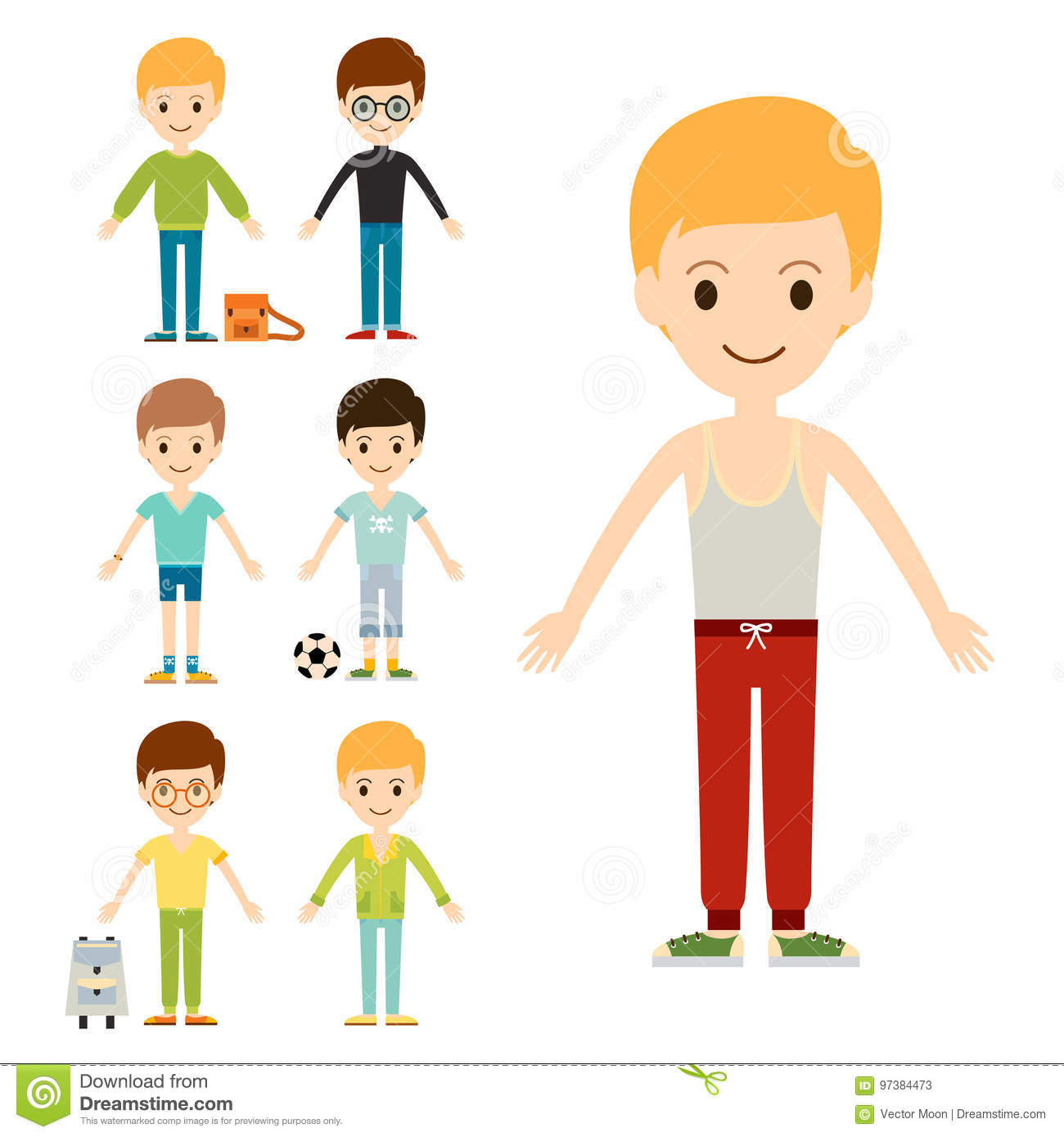 Group of young kid portrait friendship man character team happy people boy person vector illustration.