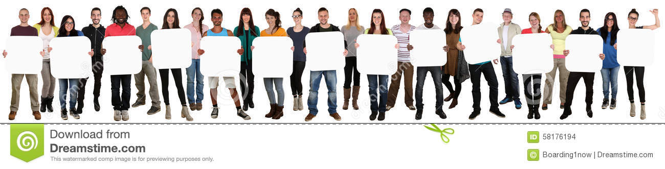 Group of young multi ethnic people holding copyspace for thirtee