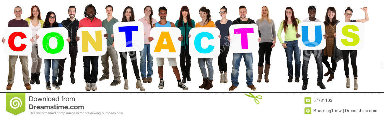 Download Group Of Young Multi Ethnic People Holding Word Contact Us Stock Image - Image of ethnicities, people: 57781103
