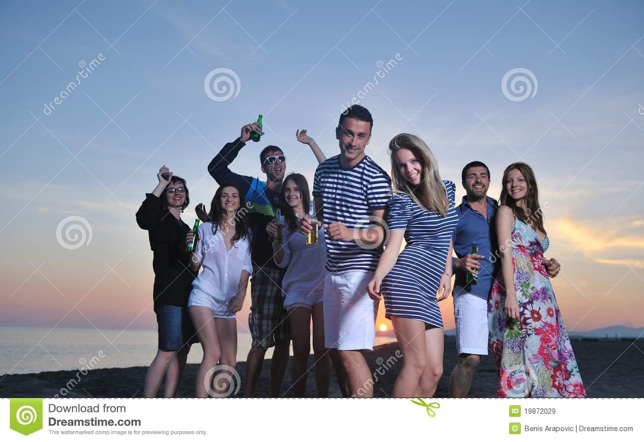 Group Of Young People Enjoy At The Beach Royalty Free
