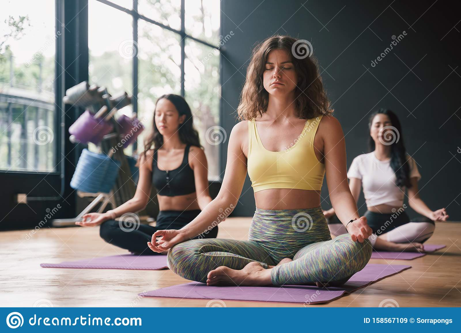 Group Of Young People In Lotus Pose Sitting On Yoga Mats In A Gym ...