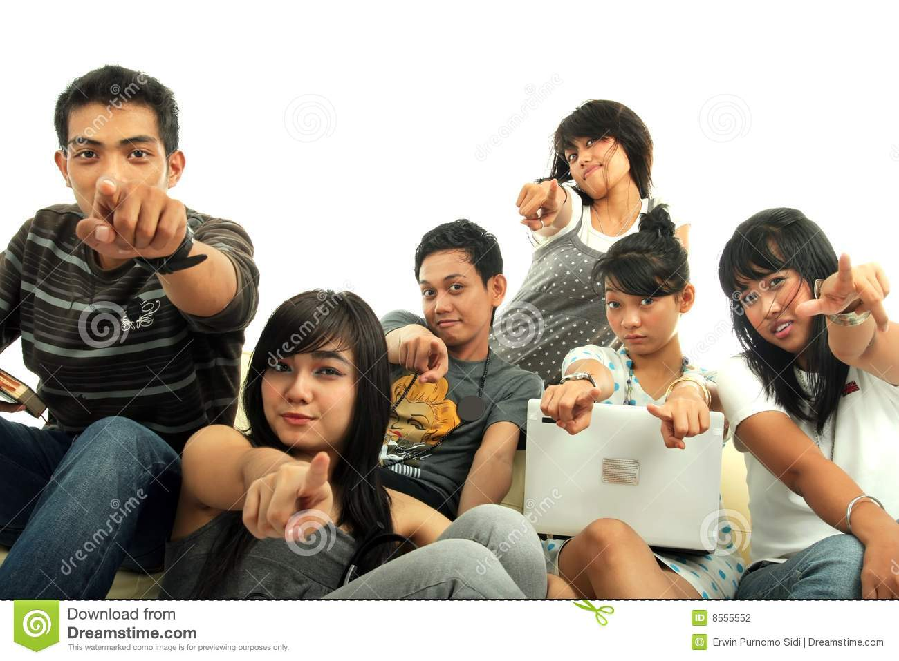 Group of young people on sofa