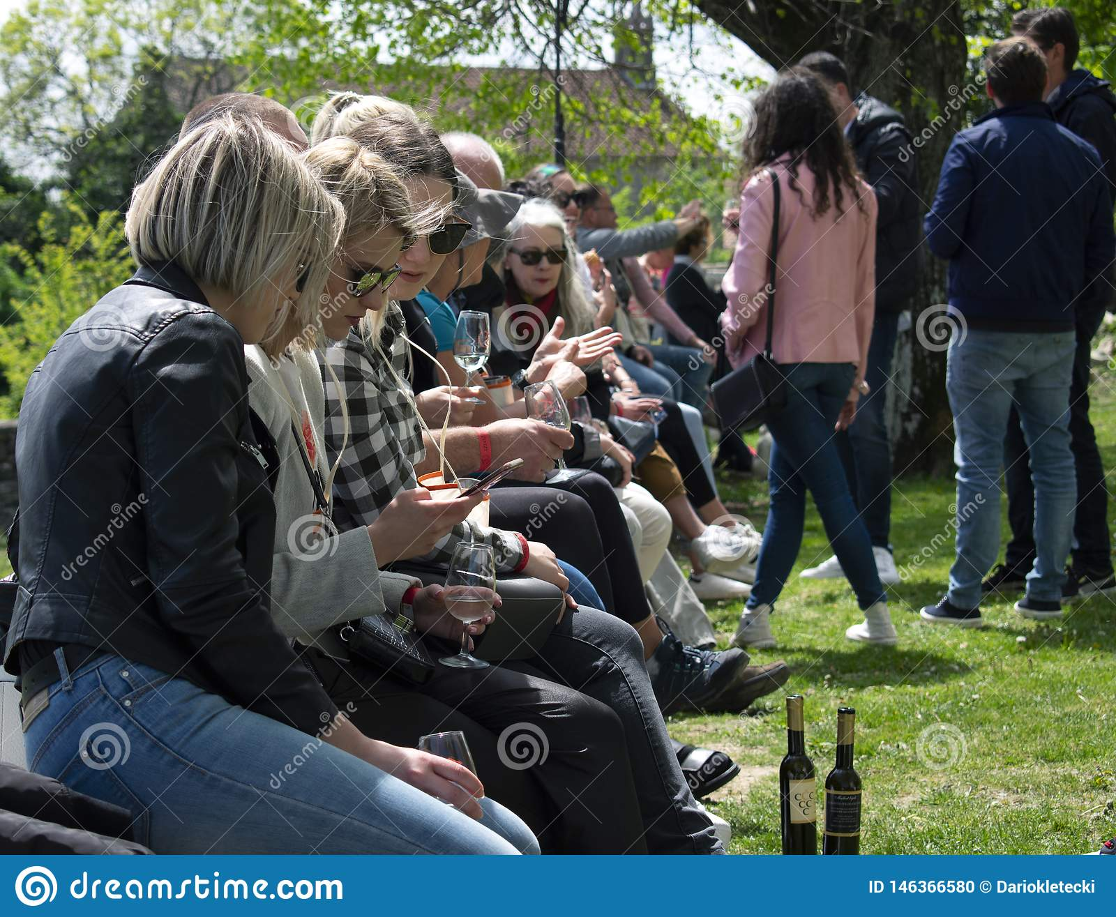 Group of young people at the wine festival