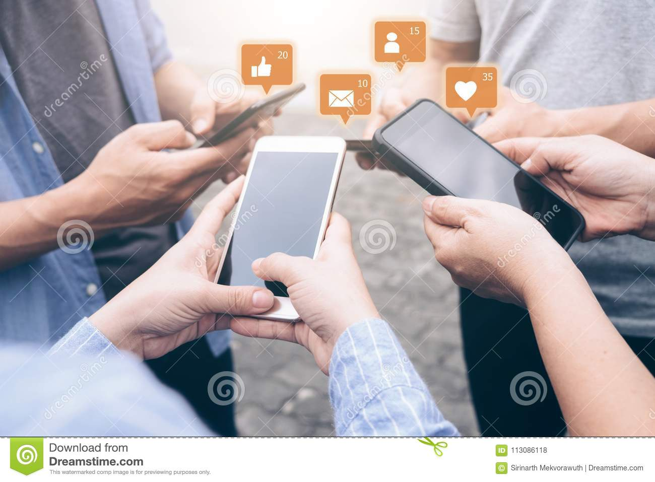 Group of young teen using mobile phones.