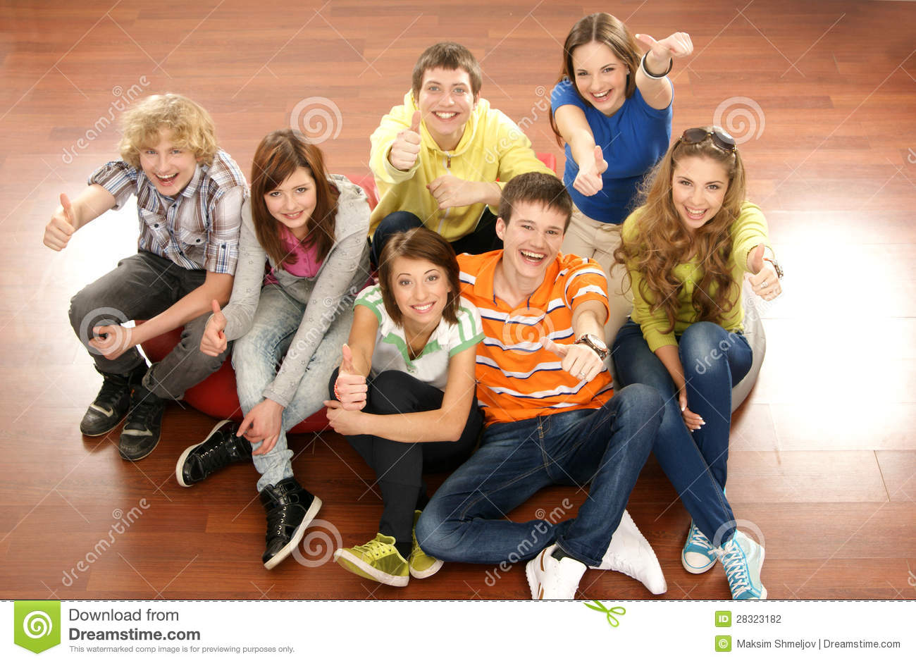 A group of young teenagers hanging out together stock for Hanging groups of pictures