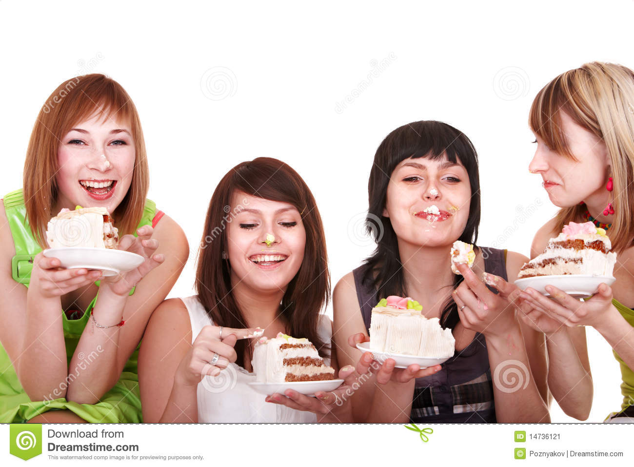 Group Of People Eating Cake