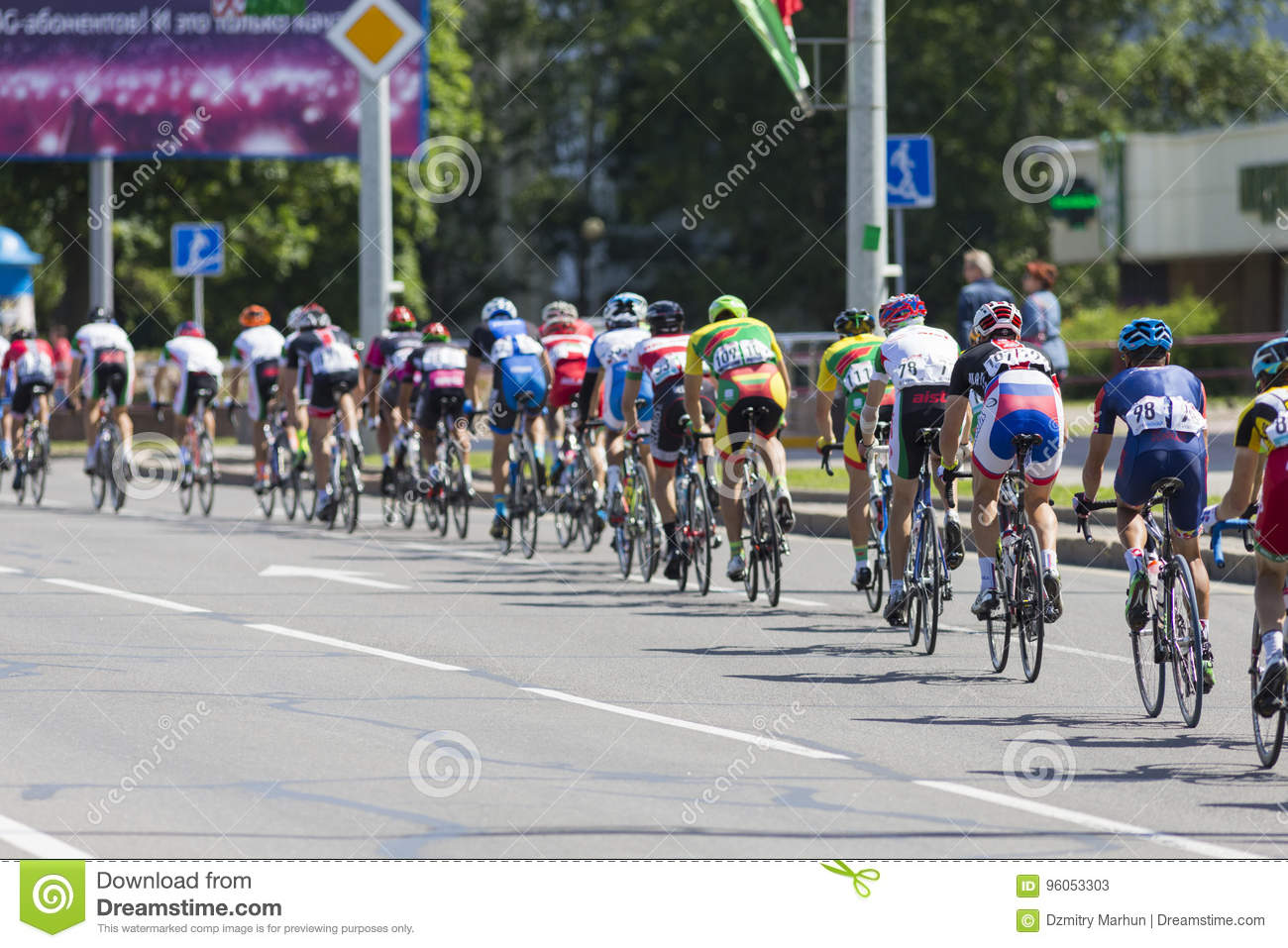 e07a8c161 Group of Youth Road Cyclists in Professional Peloton During International Road  Cycling Competition Grand Prix Minsk